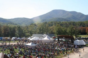 Festival Photos By Hayley Osborne : ©2010 www.nelsoncountylife.com : People pack the grounds at Devils Backbone Columbus Day weekend 2010 for The Festy. This is a view from the top of DBBC looking down on the event. Click on any photo to enlarge.