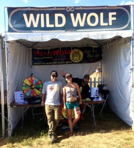 Wild Wolf Brewmaster Danny Wolf (L) with BRLM's Marcie Gates at the Wolf tent during Lockn' 2013