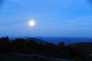 ©2013 Blue Ridge Life Magazine : Photos By BRLM Mountain Photographer Paul Purpura : This past Friday night - October 18, 2013 Paul captured this shot of what's called the Hunter's Moon rising to the east of the Blue Ridge Mountains, as seen from atop Wintergreen Resort looking east.