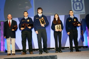 The national forestry team being recognised on the main convention stage at Freedom Hall as the national champions L-R  Mr. Ed McCann, FFA advisor, Jesse Carter, Zach Barnes, Jamie Conner, and Jack Taggart