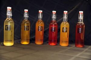 Several varieties of Kombucha made at Barefoot Bucha.