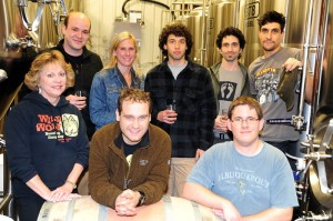 1st row (L-R) Mary Wolfe - Owner of Wild Wolf, Danny Wolf - Brewmaster at Wild Wolf, Stephen Dickerman - Cellarman and Assistant Brewer at Wild Wolf : 2nd row (L-R): Nick Dovel - Manager at Pollak Vineyards, Emily Pelton - Winemaker at Veritas, Brian Natale - Brewing Assistant at Barefoot Bucha, Ethan Zuckerman - Owner of Barefoot Bucha, Bob Sweeney - Brewer at Wild Wolf all got together this past Monday - November 11 to begin the process of their special collaborative brew.