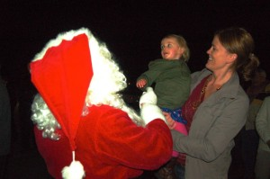 Santa chats it up with one youngster in early December during a visit to Stoney Creek.