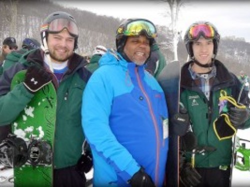 Wounded Warrior Christopher Semple of Hampton, Va is flanked by his instructors, Nathan Burns of Charlottesville, VA (left) and Mark Meardon of Richmond, VA (right) at the 10th annual Wounded Warriors Weekend held Jan 24th & 25th 2014 at Wintergreen Resort.