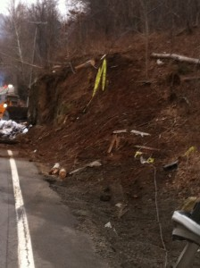 The area along Route 29S where the semi flipped on the nearby embankment.