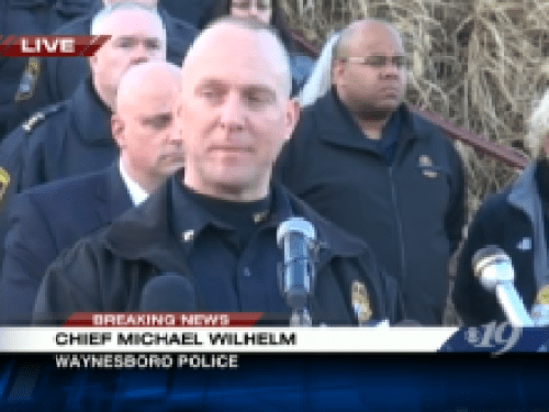 Photo Via CBS-19 Charlottesville: Cheif Mike Wilhelm of the Waynesboro Police Department briefs members of the media Friday afternoon - February 7, 2014 at Fishburn Military Academy.