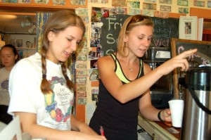 Basic Necessities has long been a place where high schoolers and college students worked. Pictured here back in May 2007, Kelsey Vergin (now of Scottsville and now with Feast in downtown Charlottesville) along side Hayley Osborne of Faber. Hayley is still seen in Basic as a customer these days and is in the final stages of becoming a school teacher in the area.