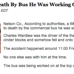 Nelson Man Killed After Bus Falls On Him : Via ABC-13 Lynchburg