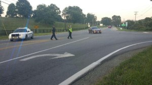 Photo courtesy of CBS-19 Charlottesville: Albemarle County Police reroute traffic heading westbound on Route 250 down Route 151 away from a serious crash Thursday evening - August 14, 2014.