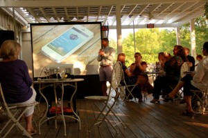 ©2014 Blue Ridge Life : Photos By BRL Photographer Shay Munroe : Developers of the new Nelson 151 smartphone app discuss details this past Thursday evening - August 28, 2014 at Veritas Vineyard & Winery in Afton, VA. The app was officially unveiled Thursday evening.