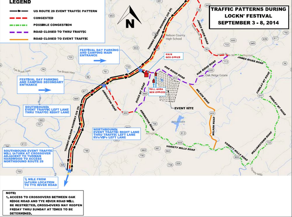 Traffic Flow Map For Lockn\' Event In Nelson This Weekend | Blue ...