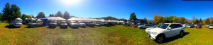 This panoramic view of the market grounds in Nellysford shows all of the activity at the final day of the market this past Saturday 10.25.14