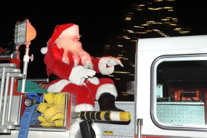 The man of the hour! Santa Claus arrives atop a fire engine from Wintergreen Fire & Rescue!
