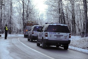 Wintergreen Police block the area where fire crews battled the blaze Sunday afternoon.