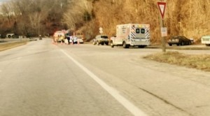 ©2015 Blue Ridge Life : Photos By Yvette Stafford : Emergency vehicles sit along Route 29 just south of River Road (near Shady's) Friday morning - January 30, 2015 after a school bus and several other vehicles collided. No children were on the bus at the time of the wreck.