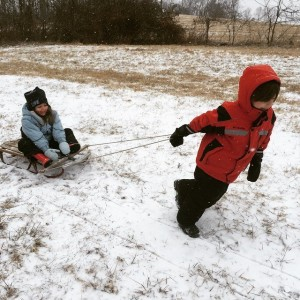 ©2015 Blue Ridge Life Magazine : Photo By Yvette Stafford : BRLM Junior Publishers Peyton & Adam Stafford enjoy a ride across the countryside on an old Radio Flyer, courtesy of Old Man Winter - Monday : January 16, 2015
