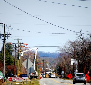 ©2015 Blue Ridge Life Magazine : Photo By Tommy Stafford : Crews with Central Virginia Electric and their contractor Mastec were seen up in the sky earlier in the week in Nellysford as they continue replacing poles as part of a project that will last into the summer.