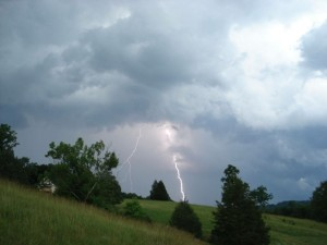 Photo By John & Nancy Hellerman  of Goodwin Creek Farm & Bakery : Strong thunderstorms with intense lightning moved through the area Wednesday afternoon just after 5PM. This picture was in Afton of Nelson County on April 8, 2015.