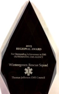 Wintergreen Rescue Squad was recently named Outstanding EMS Agency at the Thomas Jefferson EMS Council Regional Awards banquet held on May 13, 2015.