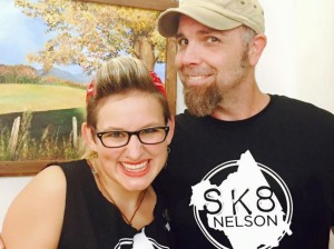©2015 Blue Ridge Life : Photo By Kim Chappell : Sally Rose of Shagwuf (left) and John Howard were all smiles this past weekend at the first SK8 Nelson event held at the RVCC to help keep the county's only skatepark open.