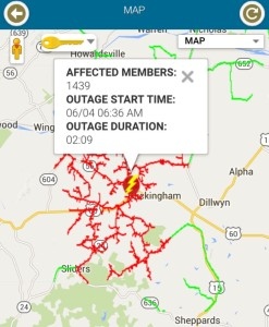 Image via CVEC app: Just before 9 AM Thursday - June 4, 2015 approximately 1400 customers were without power in Buckingham County.