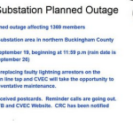 Buckingham : Planned Power Outage For Saturday Night - September 19, 2015