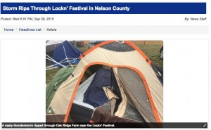 Screengrab courtesy of CBS-19 The Newsplex : Severe thunderstorms ripped through the Lockn' Festival ground in Arrington at Oak Ridge Estate late Wednesday afternoon - September 9. 2015