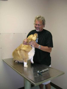 Dr. Steve Lotz with one of his many pet patients back in July of 2005 Wintergreen Animal Hospital that he owned for a number of years.