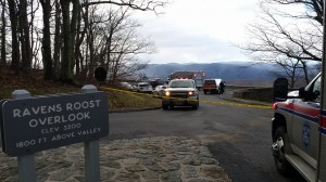 Photo By Bob Clouston : Crews work Sunday afternoon - January 10, 2016 to recover a body found below Ravens Roost Overlook off of the Blue Ridge Parkway. The area is technically in Augusta County, but crews from Nelson & Augusta frequently provide assistance there.