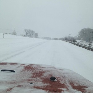 Photo Courtesy of Sheriff David Hill Nelson County : Route 29 Northbound in Arrington near Tye River Elementary was snow covered and hazardous early Friday afternoon as snow started across the area. - January 22, 2016