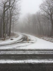 Photo By Jody Morgan : Up top at Wintergreen the ground temps were cold enough for some light accumulating snow on the roads.