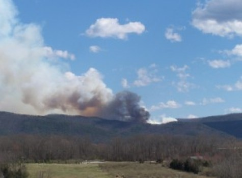Photo By Carole Painter : A large mountain fire can be seen late Thursday afternoon between Lofton and Montebello heading down the Nelson County side.