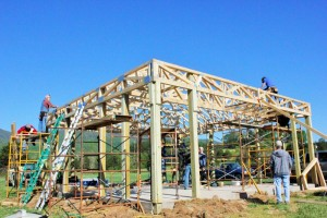 ©2016 Blue Ridge Life Magazine  : Photos By BRL Region Photographer Marcie Gates : This past Sunday the roof was officially raised on the new Blue Mountain Pavilion at the Rockfish Valley Community Center in Greenfield / Afton in Nelson County, Virginia. - Sunday : April 23, 2016