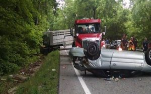 Photo Courtesy of Lovingston Volunteer Fire Department : A passenger car and large truck collided early Tuesday morning causing the truck to jackknifed blocking all of US 29 south near Ridgecrest Baptist Church - Tuesday - June 21, 2016