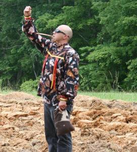 Mekasi Horinek, of the Ponca Tribe of Oklahoma, blessed the land in four directions using sacred tobacco and an eagle bone whistle this past Monday - June 6, 2016 in Winginia, Virginia