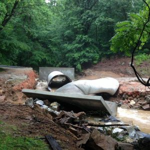 Photo courtesy of Regina Allen Campbell : This section of Dark Hollow Road in Nelson County about 3/4 of a mile of off the East Branch Loop side is a no go after more than 4 inches of rain fell again Saturday night in areas that received 6 inches of rain last Thursday.