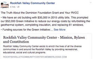 Screenshot from Rockfish Valley Community Center's public Facebook page.