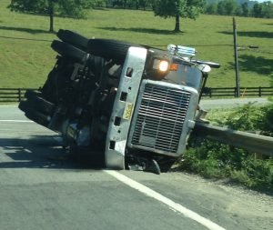Another view of the overturned big rig Tuesday morning.