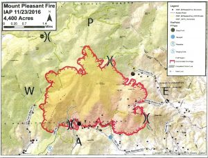 Mt. Pleasant wildfire area map via Virginia Department of Forestry. Click on image above to enlarge.
