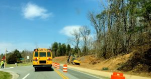 ©2017 Blue Ridge Life Magazine : Photo By Yvette Stafford : A school bus drivers waits to make a turn at the intersection of Route 635 (School House Lane) and Route 151 in Greenfield of Nelson County. The intersection is getting a major improvement project including turn lanes. Friday - March 24, 2017.