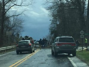 Thanks to Savannah O'Connor for this photo. Trees blocked parts of Route 151 in Nelson County Wednesday afternoon - March 1, 2017 -  as severe thunderstorms moved across the area.  This was near Sunrise Drive in Afton, Virginia.