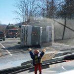Nelson : Beech Grove : Refrigeration Truck Overturns Blocking Route 664
