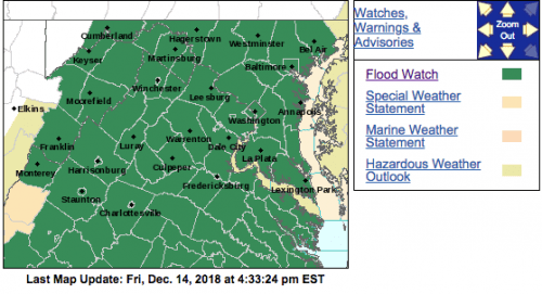 FLOOD WATCHES : With Varying Times Continue Across Blue Ridge : Heavy Rains & Snow Melt (Updated)