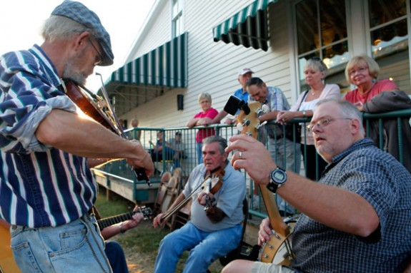 Music on the streets in Floyd on Friday nights.