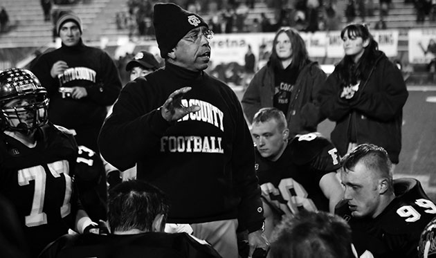 Football coach Winifred Beale at the 2008 State Championship game