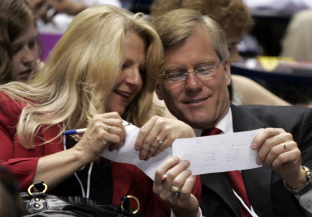 Virginia Gov. Bob McDonnell and his wife Maureen:  Who's paying them off now?  (AP Photo/Steve Helber)