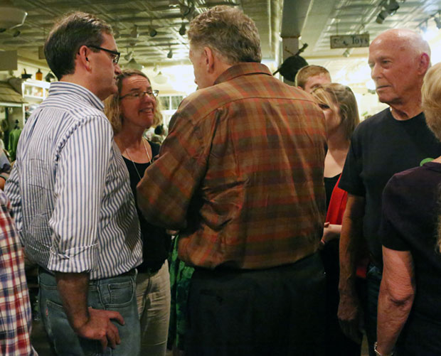Floyd Countians greet Terry McAuliffe on the Democratic candidate's visit to Floyd in October.