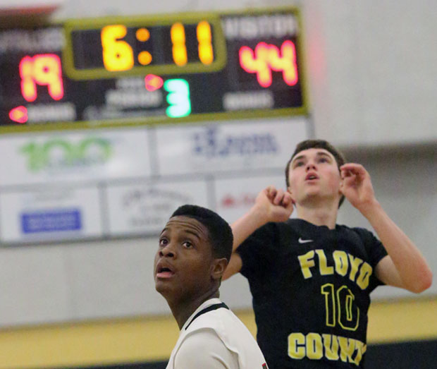 Virginia High School League career scoring champion Caleb Tanner of the Buffaloes watches another three-pointer drop in.