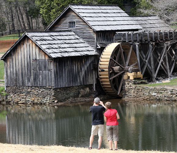 Mabry Mill, sporting new water buckets and more