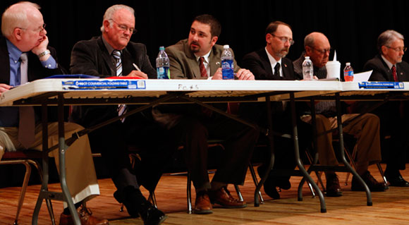 Floyd County's Board of Supervisors:  County Administrator Dan Campbell (left), Joe Turman (Burks Fork), Lauren Yoder (Locust Grove), Case Clinger (Courthouse), Virgel Allen (Little River) and Fred Gerald (Indian Valley)